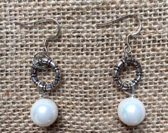 Ainsley Pearl Hoop Earrings