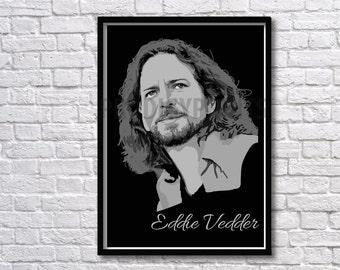 Eddie Vedder art print, Eddie Vedder illustration, Pearl Jam poster, Pearl Jam art, Music Poster