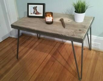 Industrial Midcentury Modern Hairpin Leg Metal and Reclaimed Wood End Table