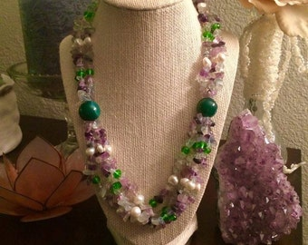 Fluorite and Pearl Necklace.