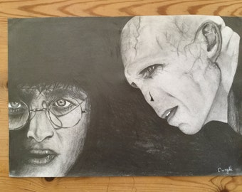 Harry Potter and Voldermort pencil drawing A3