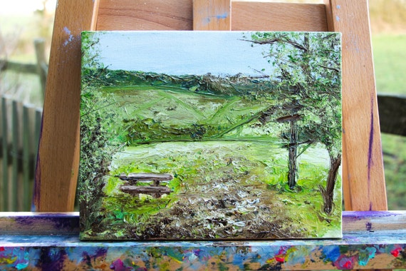 English Countryside Original Oil Painting