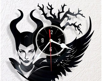 Vinyl wall clock Maleficent