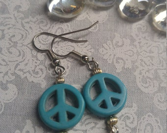Blue Peace Sign Earrings