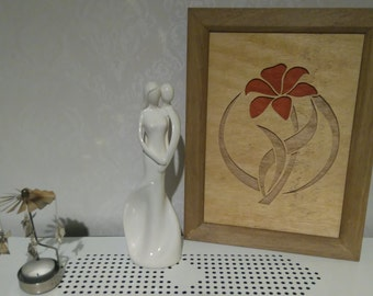 Wooden flower framed wall art