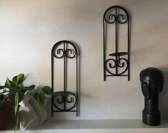 Set of 4 basic black candle holder/ sconce