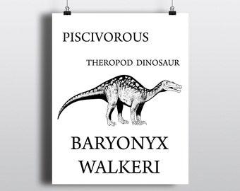 Printable Dinosaur Illustration, Baryonyx Walkeri Poster, Jurassic Period Art Print, Art for Paleontologists, Instant Digital Download