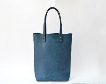 Genuine leather bag, womens shoulder bag, leather tote bag, leather womens tote, leather shopper bag, leather handbag, blue leather tote
