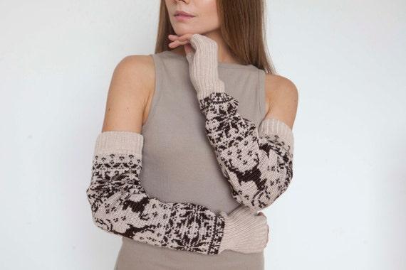 Long arm warmers Norwegian mittens Fingerless Gloves Gauntlets Womens Gloves Wrist Warmers Extra-long arm warmers