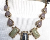 Gold Grey Pink And Green Stones Necklace