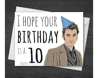 Doctor Who Greeting Card, David Tennant, 10, Ten.