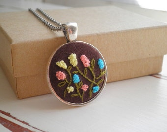 Mini Hyacinth Flowers Embroidery Necklace - Embroidered Flower Garden Floral Pendant - Tiny Wildflower Terrarium Textile Art Jewelry Gift