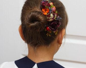 Fall floral comb Floral accessory Flower comb Bridesmaid floral comb Fall wedding Woodland wedding Wedding flower comb Bridal flower comb