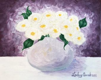 SOLD: Abstract purple Flower Painting, Purple and White Flowers in Vase, Acrylic Painting on Canvas Board, Purple and White Flowers Painting