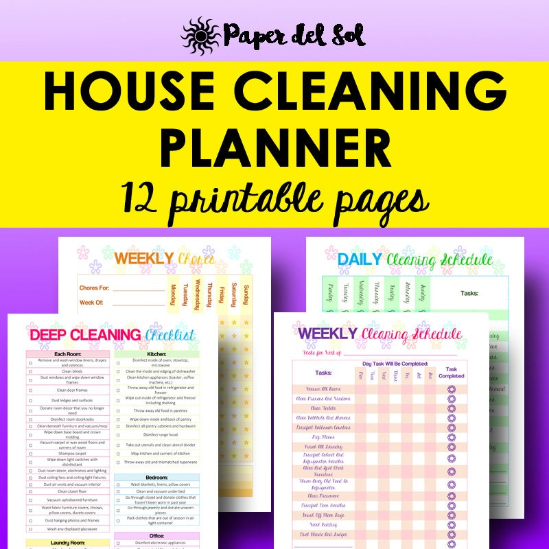 cleaning schedule cleaning planner printable home organizer