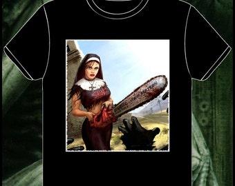 CHAINSAW CHRISTIAN NUN - Gothic & Unsual - Custom T-Shirt