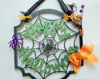 Halloween, Halloween Wall Art, Halloween Door Decor, Happy Halloween, Wall Hanging, Door Decor, Spider Web