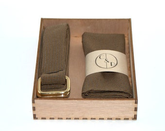 Gift box for men, belt and pocketsquares matched, fabric belt, brown houndstooth, gift idea, gift for him, original gift for men, wooden box