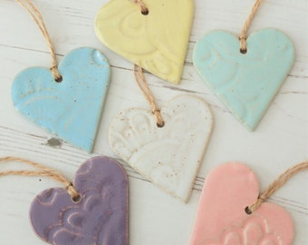 Handmade ceramic heart decoration, vintage lace, pastels, ceramic door hanger, handmade gift, housewarming gift, pottery decoration