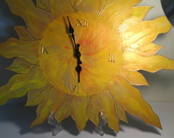 Sun clock handmade wooden clock sun wooden handmade