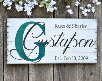 Custom Painted Family Established Name Sign Stained Wood Pallet Rustic Home Decor House Warming Gift Anniversary Gifts