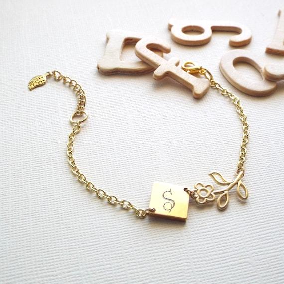 personalized bracelet gold initial charm bracelet flower