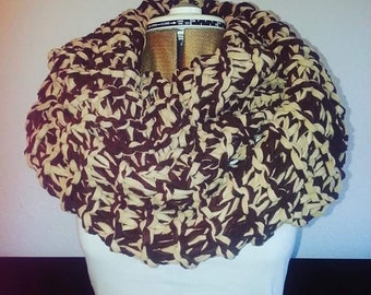 Bulky tan & brown hand knitted infinity scarf