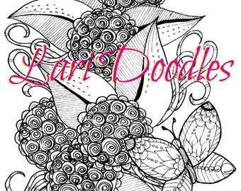 Adult Colouring Page, Downloadable PDF, Digital Download, Flowers, Plants, Botanical, Zentangle, Zendoodle
