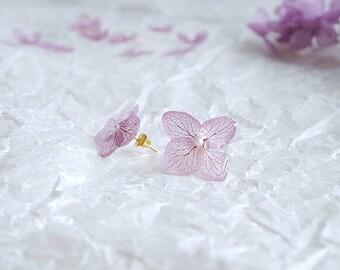 5coler Real hydrangea preserved flowers earrings