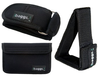 "Ibags Traveler Mini ""Accessory Bundle"" (Detachable Hand/arm Strap, Kick Stand & Storage Pocket) - Black"