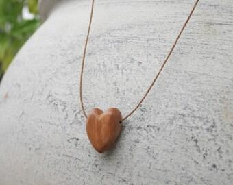Hand carved Tasmanian Oak heart pendant necklace