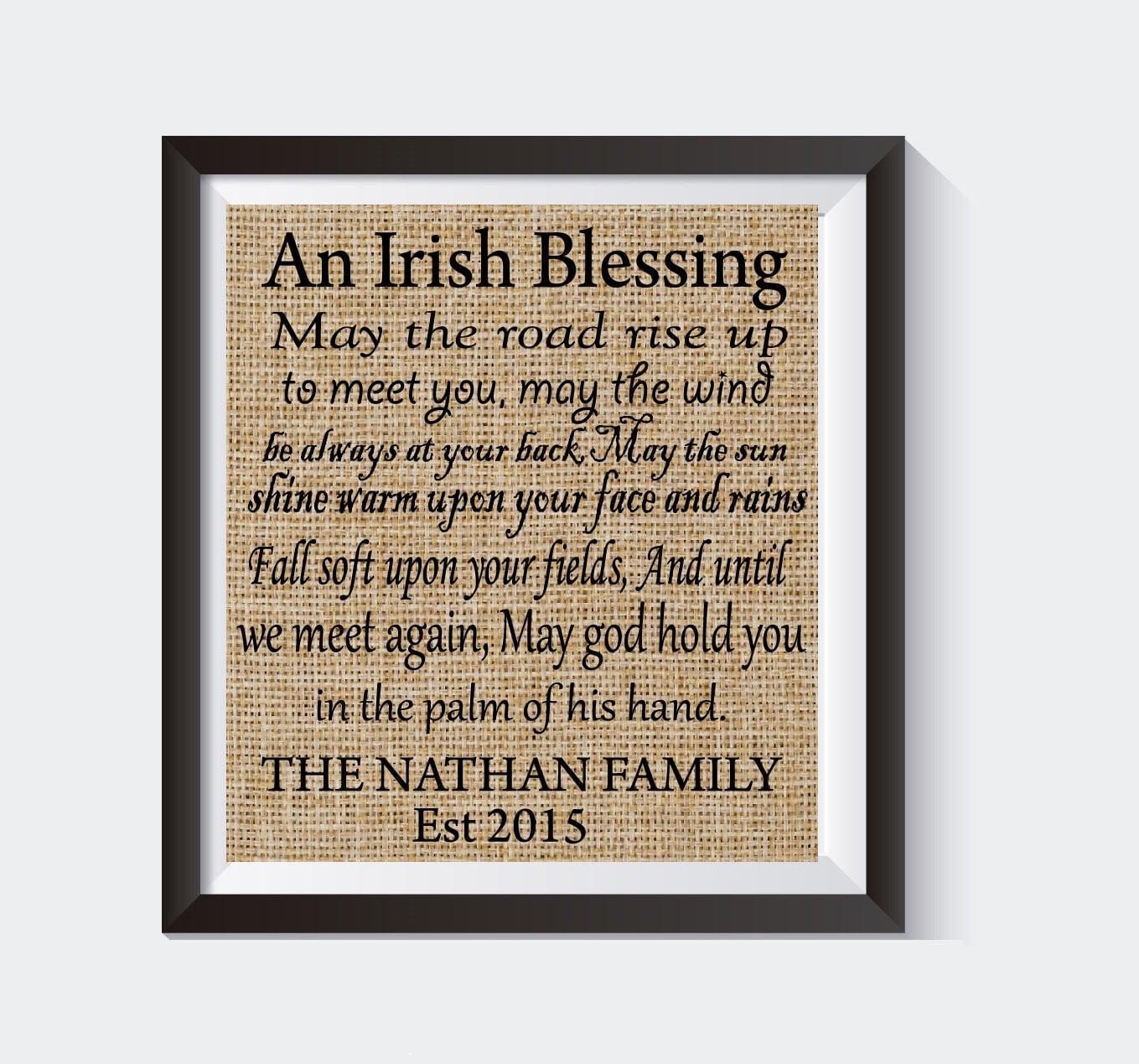 Personalized Irish Blessing House Warming Gift Burlap Print