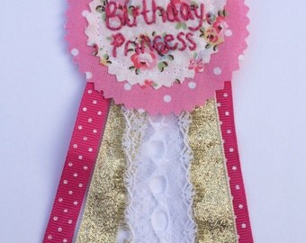 Birthday princess badge rosette. Handmade pink glitter, hand embroidery, keepsake