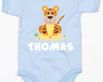Personalised tiger baby vest/body suit boys clothing