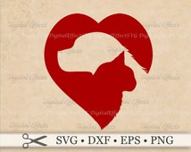 DOG & CAT Svg, CAT Svg, Png, Dxf, Eps, Dog Svg, Heart Svg, Animal Rescue, Pet Clipart, Cat and Dog Silhouette Studio Cricut, Svg Cut Files
