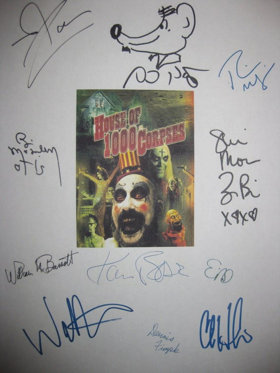 House of 1000 Corpses Signed Film Movie Screenplay Script X11 Autograph Rob Zombie Sid Haig Bill Moseley Walton Goggins Chris Hardwick Black