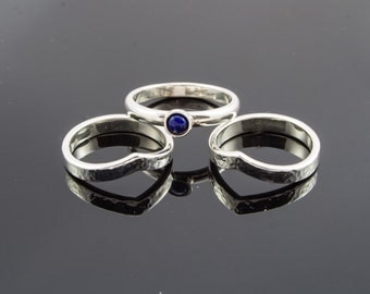 Silver stack rings with Lapis lazuli