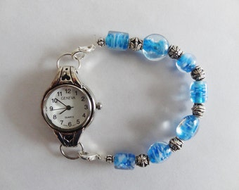 Handmade Blue and Clear Lampwork Bead Watch