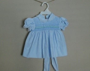 Vintage Petit Ami Baby Dress & Matching Bloomers, Baby Blue + Embroidered Flowers, Size 9 mos.