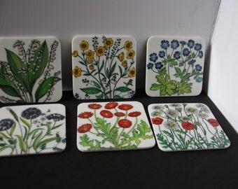 Floral design coaster set, beverage coaster set, coaster set, drink coaster set
