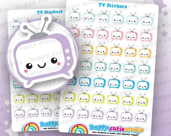 42 Cute TV/Programme Planner Stickers, Filofax, Happy Planner, Erin Condren, Kawaii, Cute Sticker, UK