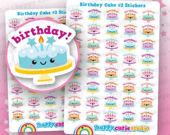 45 Cute Birthday Cake #2 Planner Stickers, Filofax, Erin Condren, Happy Planner, Kawaii, Cute Sticker, UK