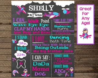 Girl's first birthday chalkboard poster, airplane birthday poster, airplane chalkboard, girl's airplane theme party, aviation, second bday