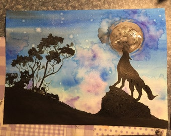 Wolf Howling at the Moon Watercolor Painting