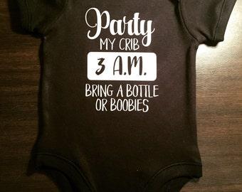 Funny baby onesie/ bodysuit 'Party at My Crib'