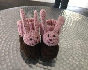 Baby shoes, baby socks, baby socks with sweet Bunny head