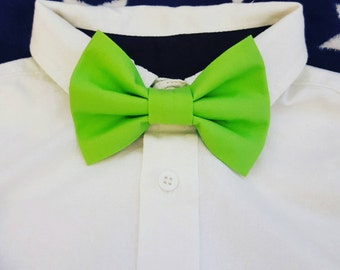Children's Bow Tie. Lime Green/Aqua/White.