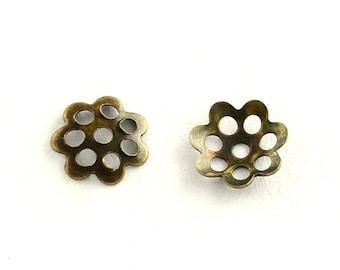 100 bronze flower bead caps