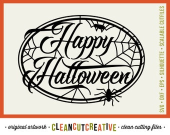 SVG Happy Halloween svg Trick Or Treat svg Halloween svg spider cob web svg - Studio3 DXF EPS png - Cricut & Silhouette clean cutting files