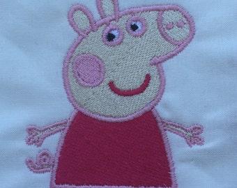 Peppa pig machine embroidery design , childrens design, digital instant download
